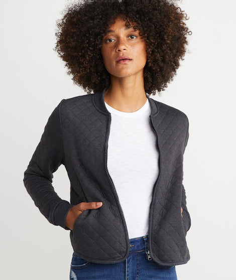 Mya Quilted Swing Bomber in Charcoal