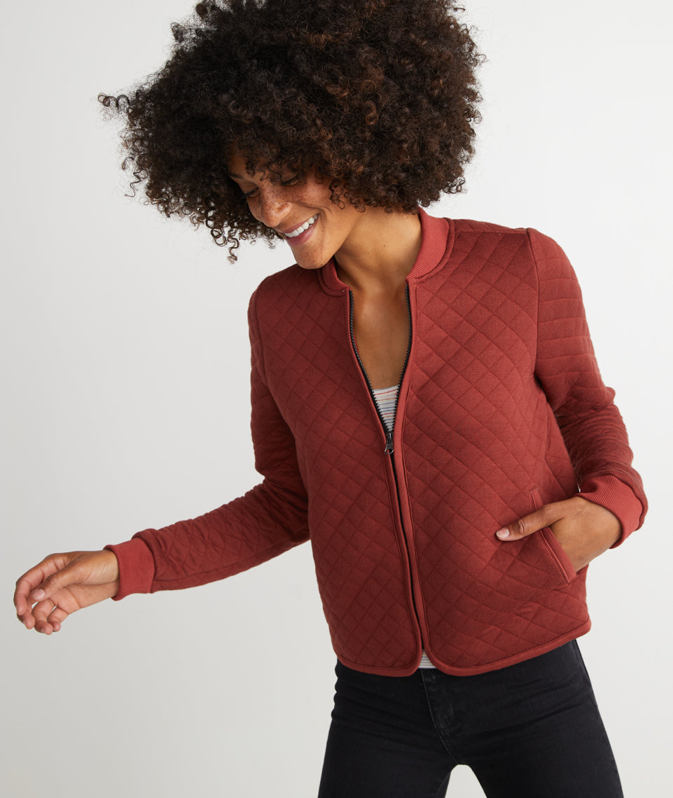 Mya Quilted Swing Bomber in Henna