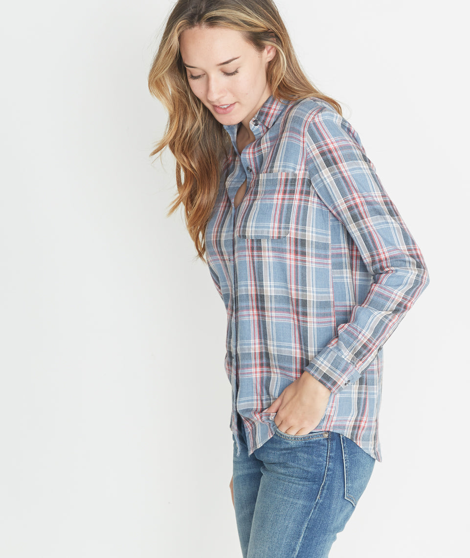 Marigold Plaid Button Down