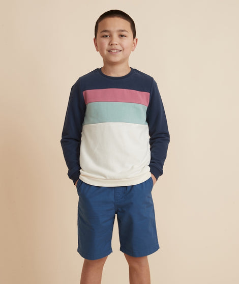 Mini Jordan Sweatshirt in Navy Multi Stripe