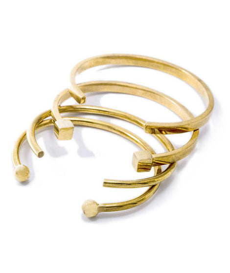 Soko Mixed Shapes Stacking Cuffs in Brass