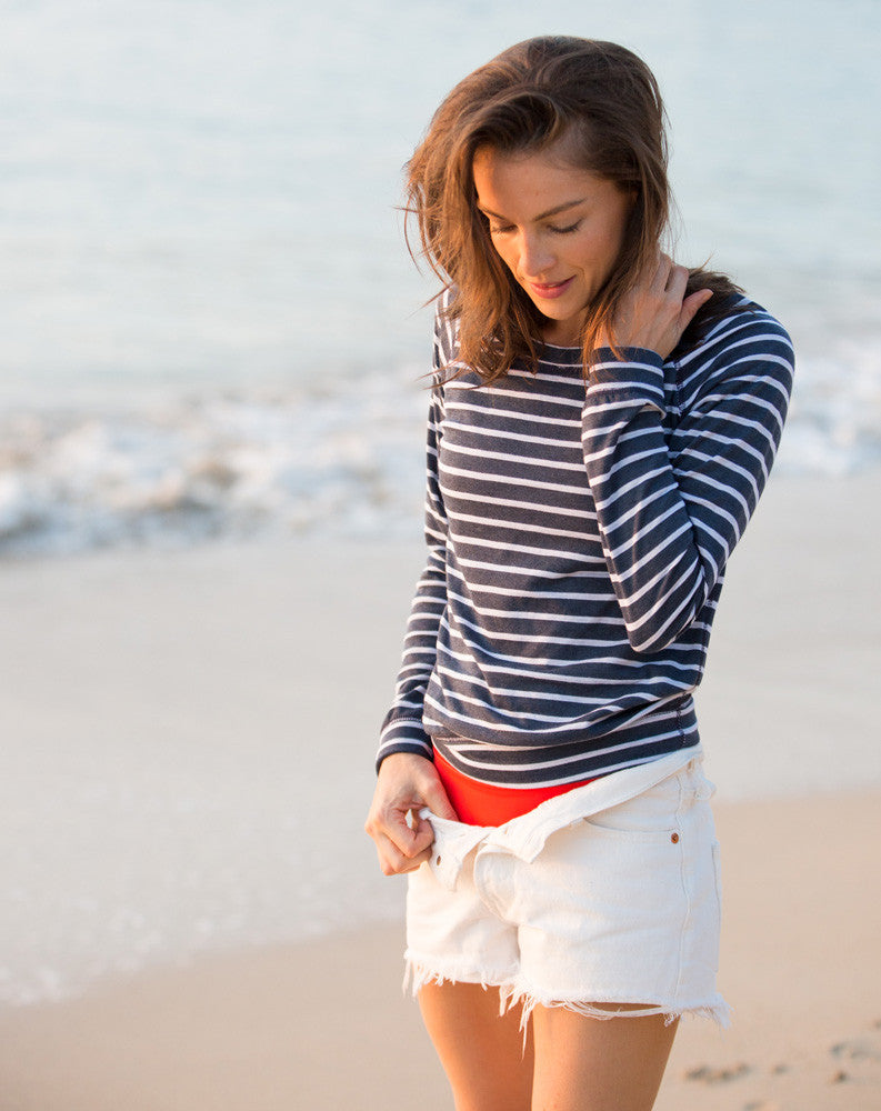 Double Stripe Reversible Raglan - Navy and White