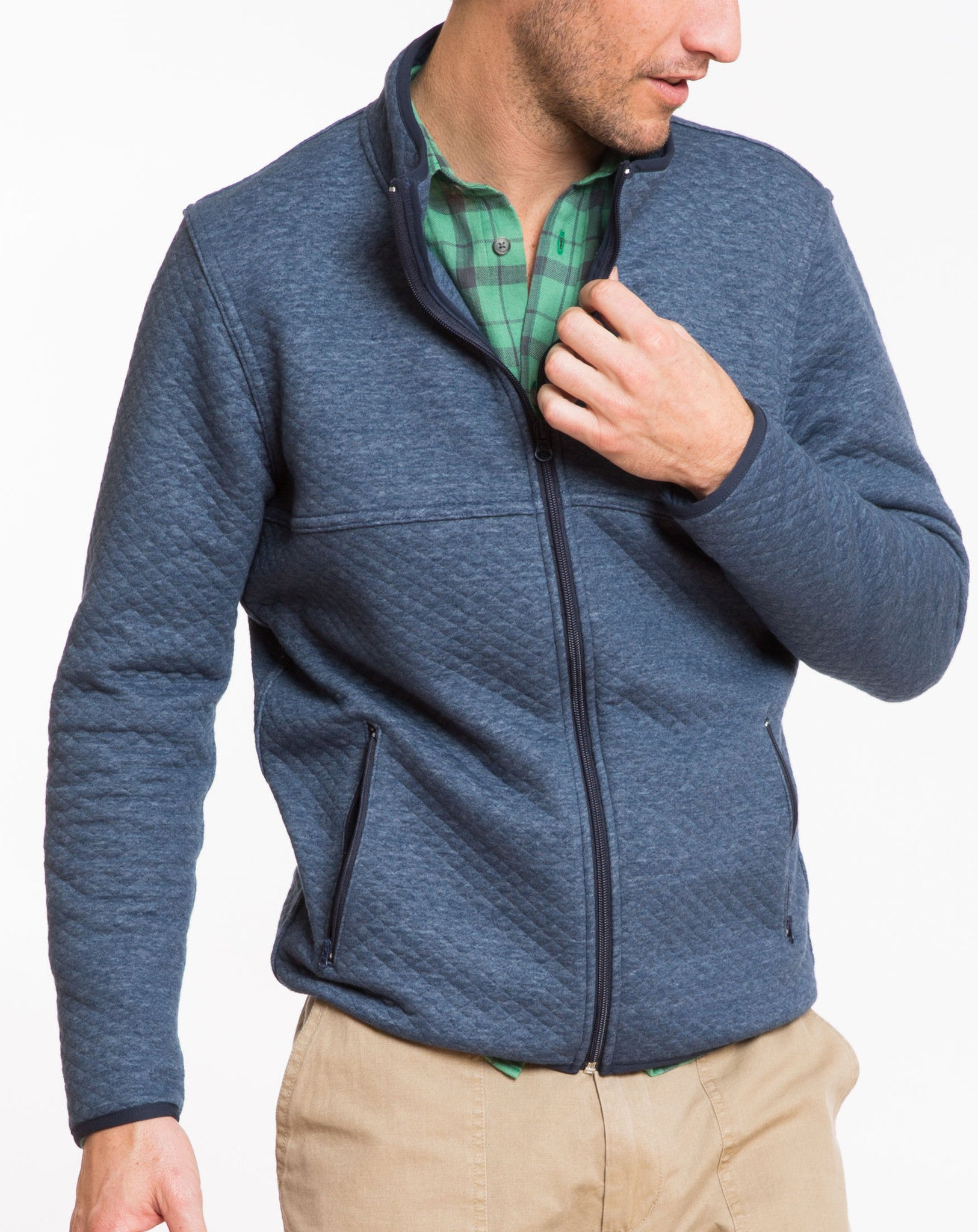 Franz Quilted Full Zip - Navy