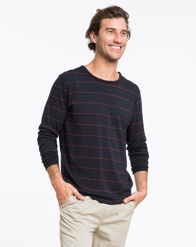 Longsleeve Striped Crewneck - Navy and Red Stripe