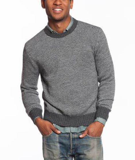 Contrast Crewneck Sweater - Grey and Charcoal