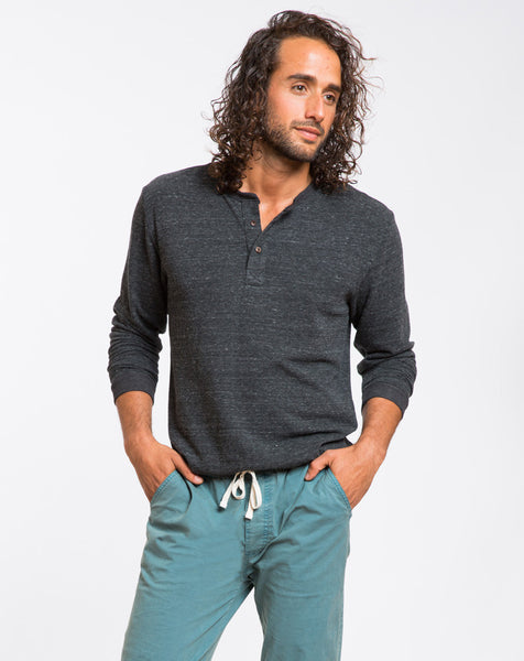 Double Knit Henley - Charcoal – Marine Layer