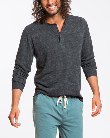 Double Knit Henley - Charcoal