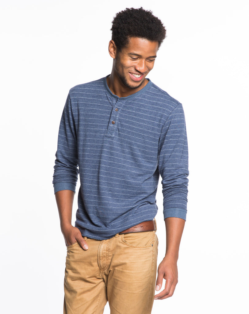 Double Knit Henley - Dark Navy and Cream