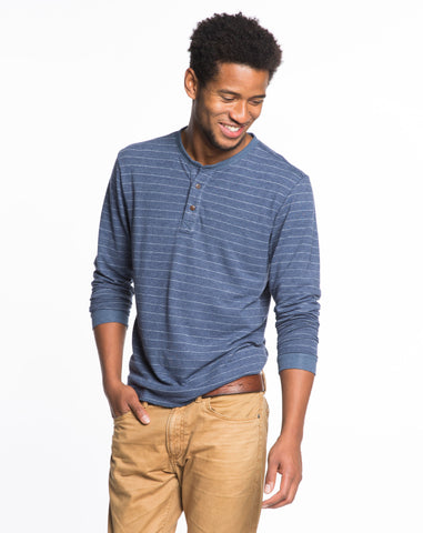 Doubleknit Henley - Dark Navy and Cream