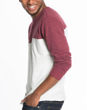 Colorblock Double Knit Henley - Maroon and Natural