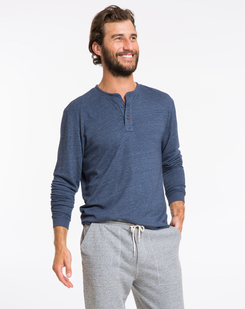 Double Knit Henley - Navy