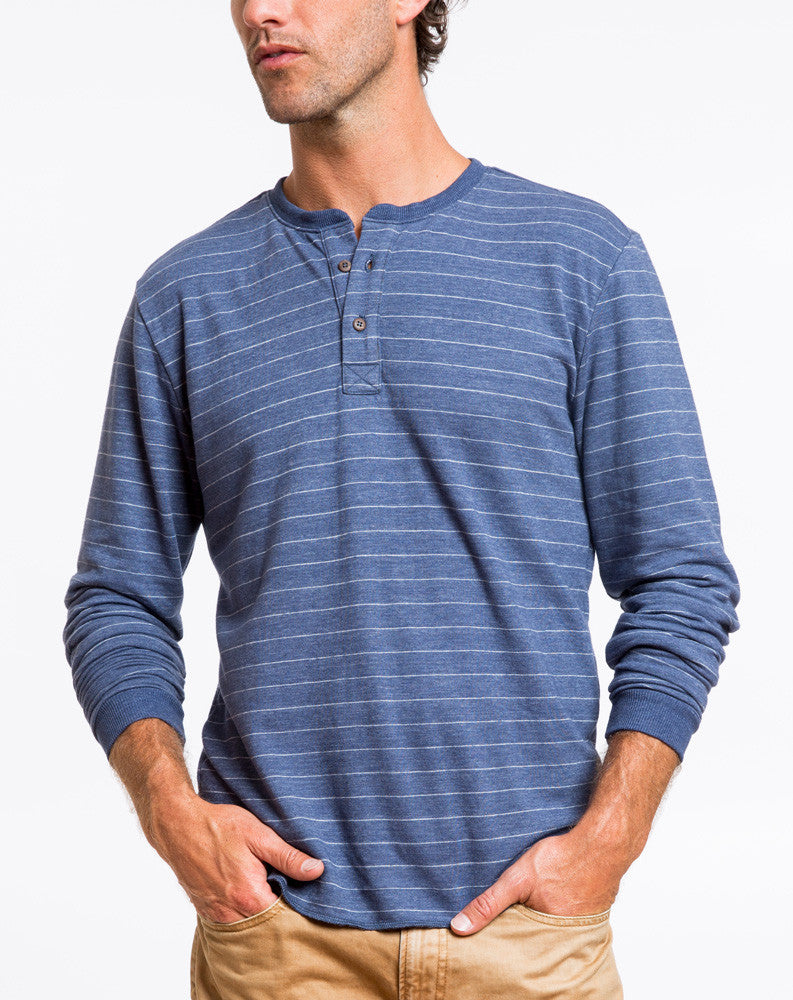 Double Knit Henley - Navy and White Stripe