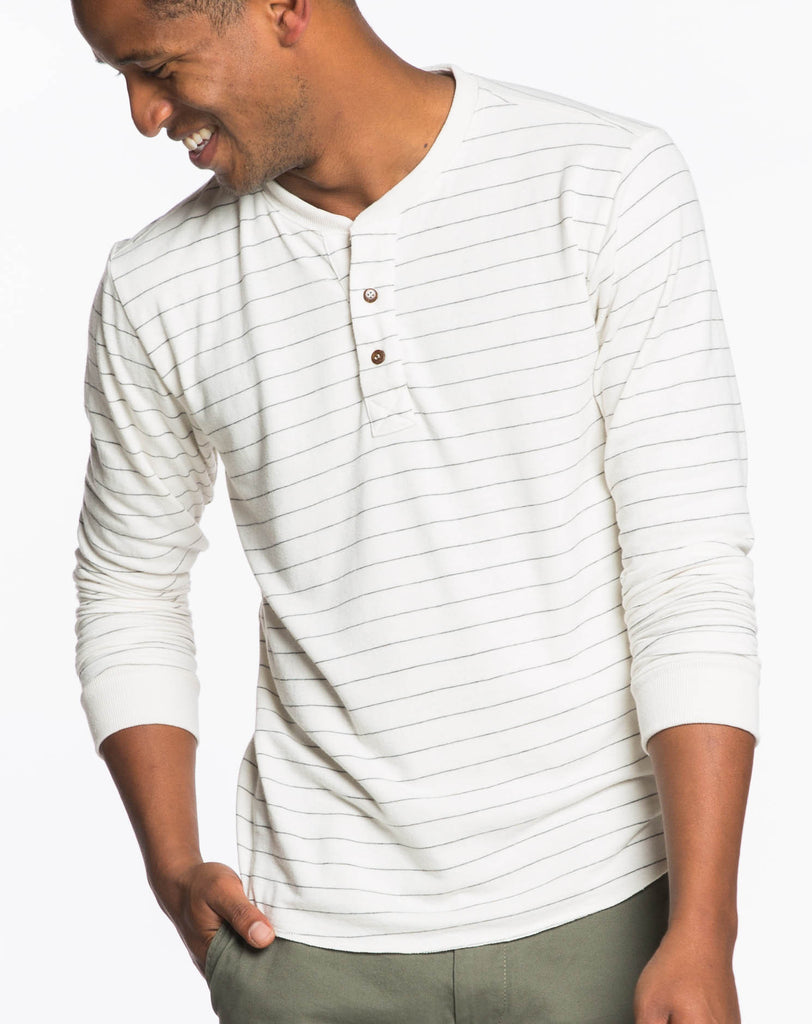 Double Knit Henley - Natural and Charcoal Stripes