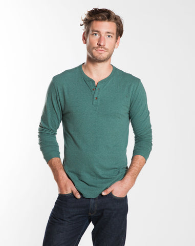 Double Knit Henley - Pineneedle