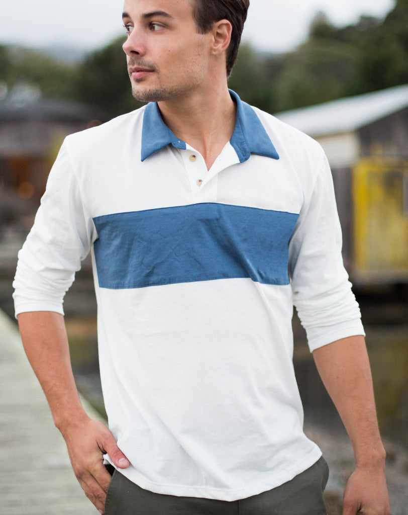 Bold Stripe Longsleeve Jersey Polo - Natural