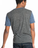 Melange Crewneck Tee - Charcoal Navy Colorblock