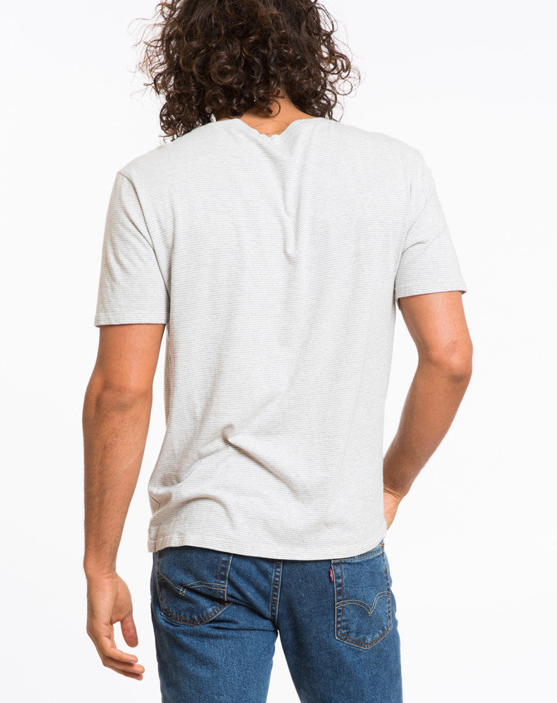 Shortsleeve Henley - Grey and White Stripe