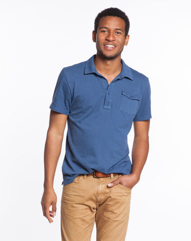 Sueded Jersey Polo - Faded Navy