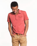 Sueded Jersey Polo - Faded Red