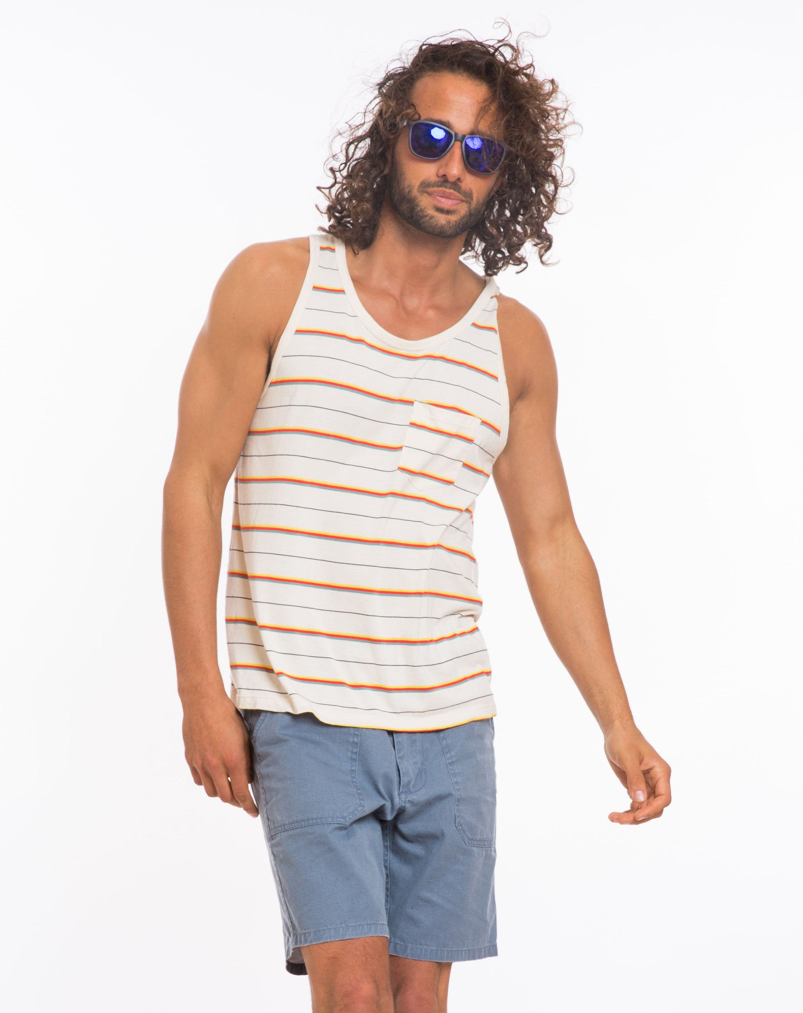 Beach Boys Pocket Tank - Natural Multistripe