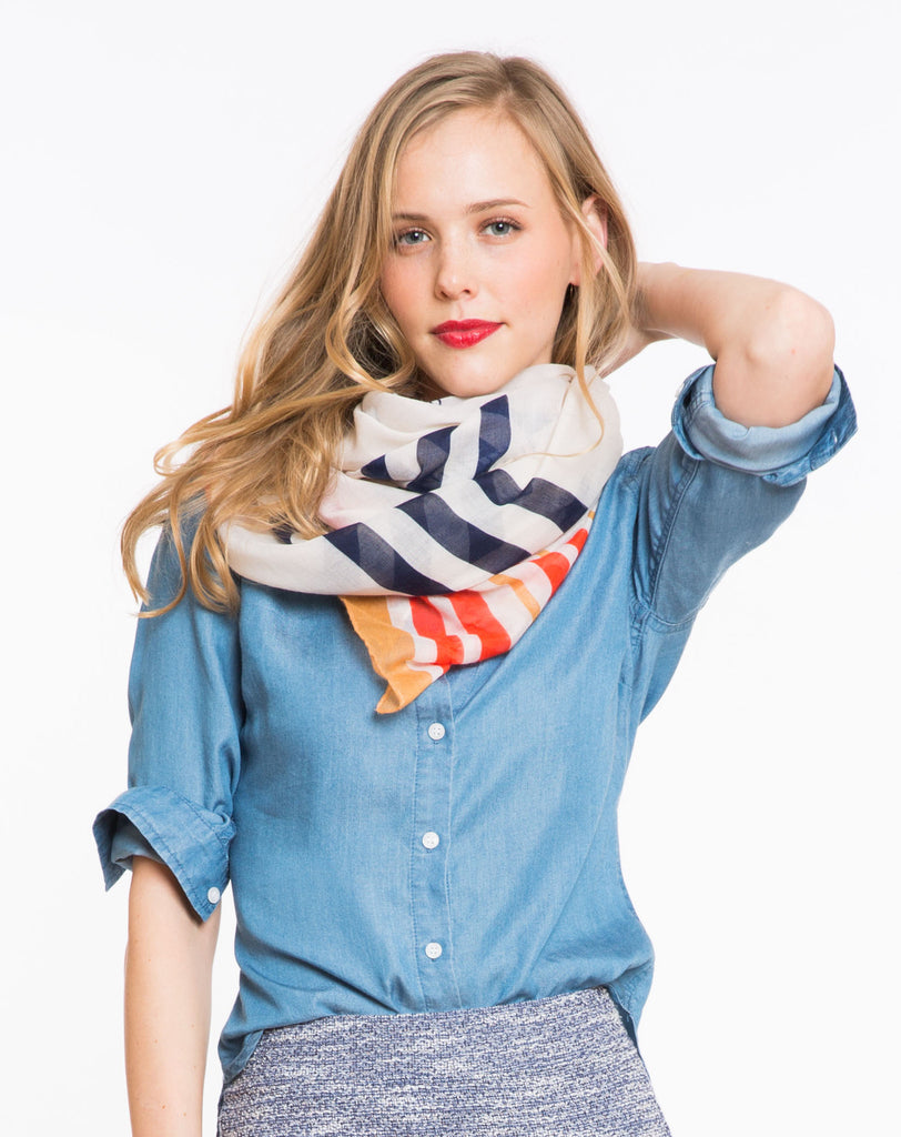 Madeline Striped Straight Scarf - Pink and Navy