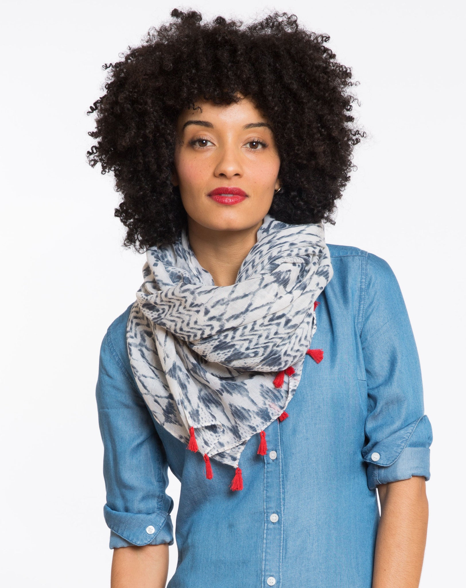 Kingsley Tassled Straight Scarf - Navy and White