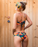 Catalina Reversible Bikini Bottom - Geometric Print and Navy