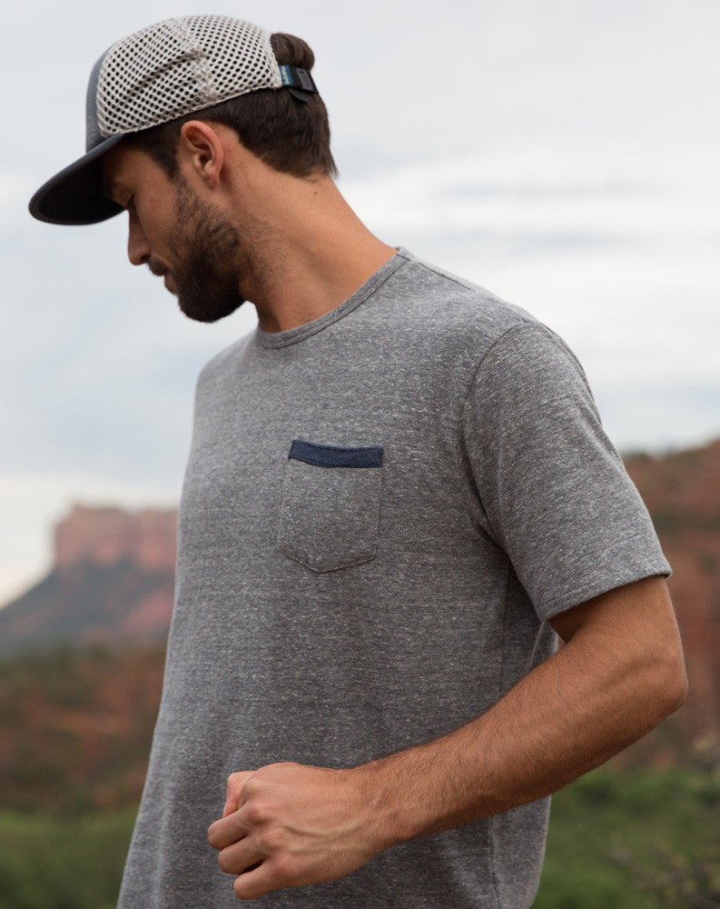 Double Knit Pocket Tee - Heather Grey and Azulon