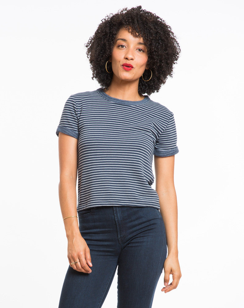 Shortsleeve Terry Sweatshirt - Navy and White Stripe