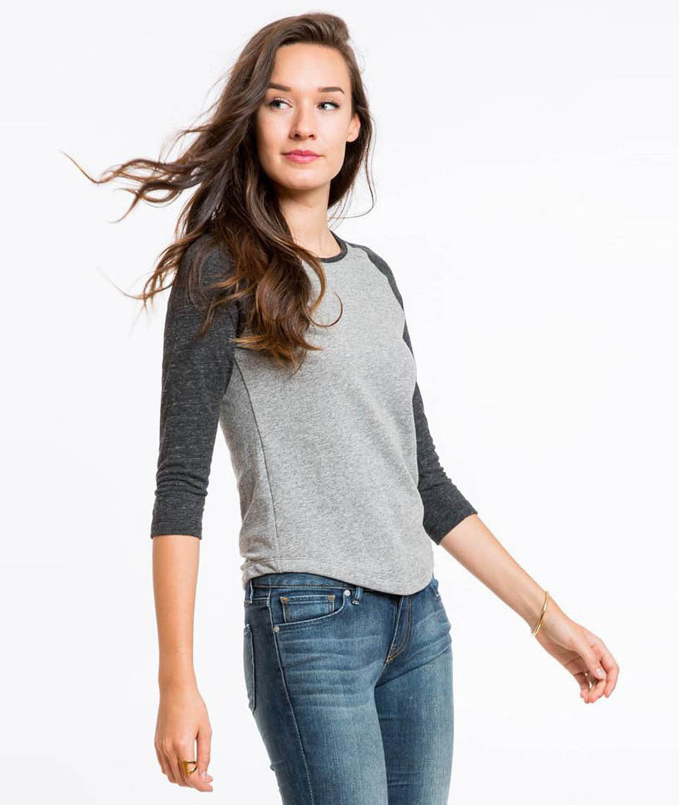 Double Knit Baseball Tee - Heather Grey and Charcoal