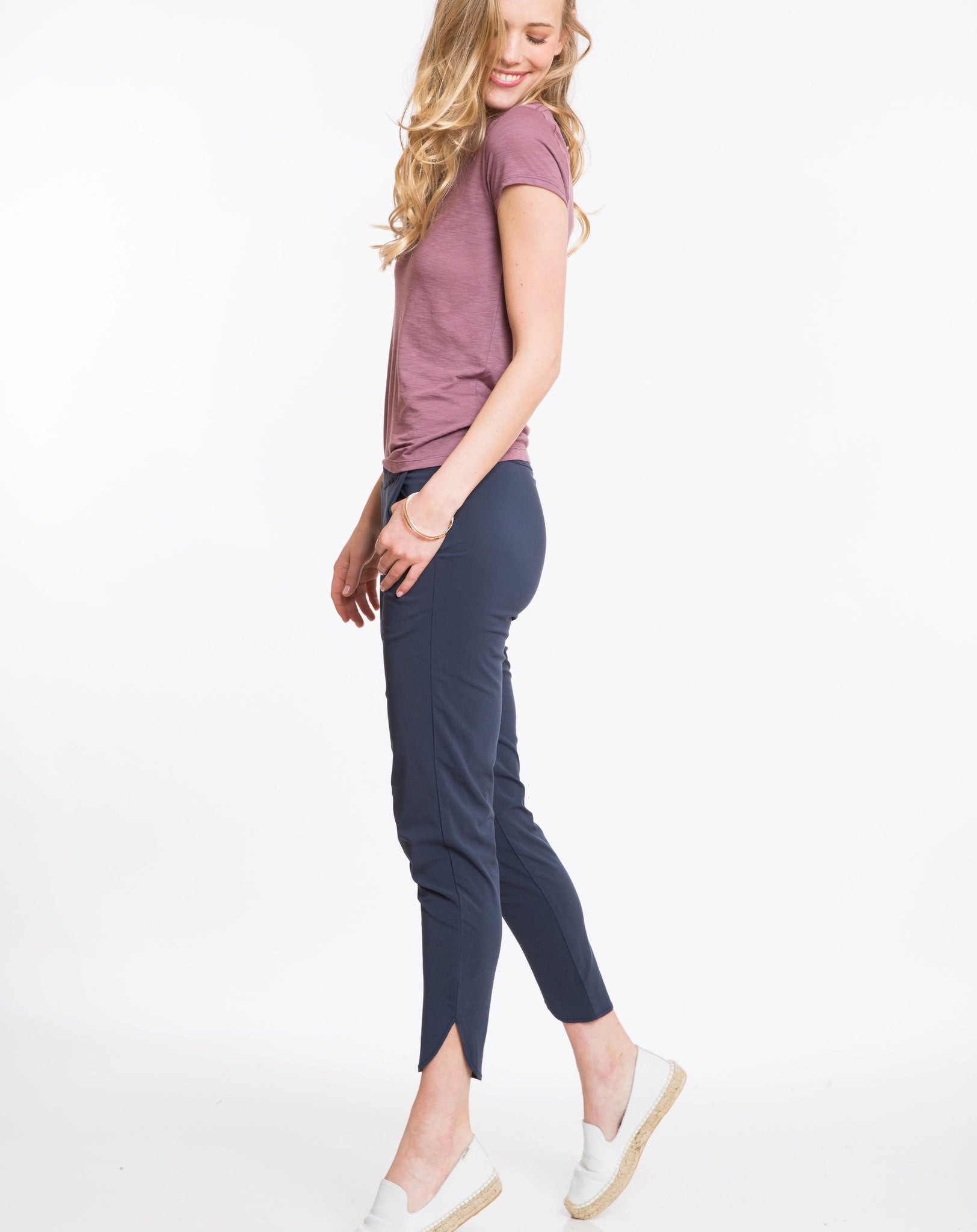 Rayon Cigarette Pant - Navy