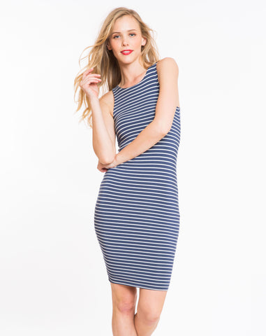Spandex Midi Tank Dress - Navy and White Stripe