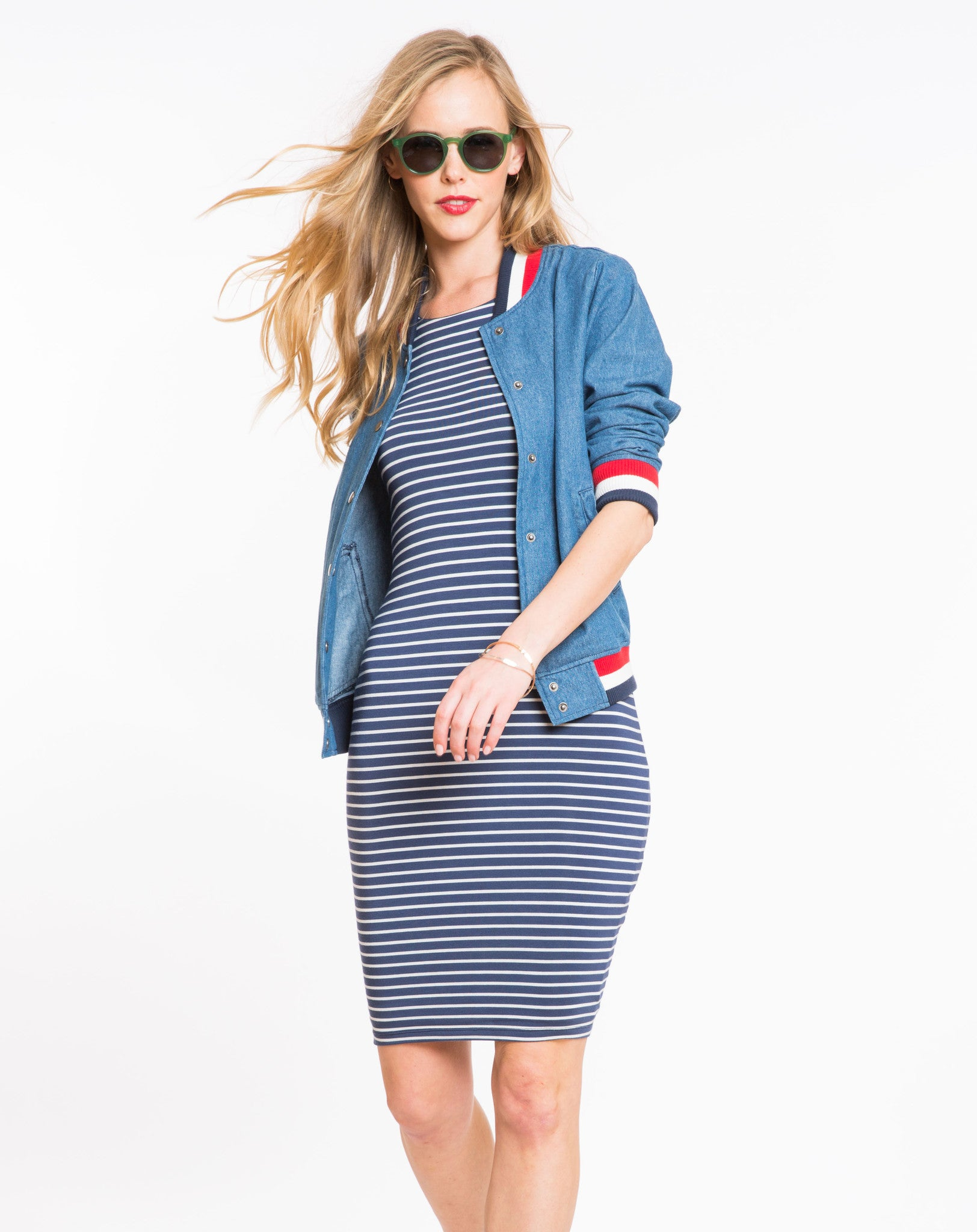 a5cf5e16c10 Spandex Midi Tank Dress - Navy and White Stripe – Marine Layer