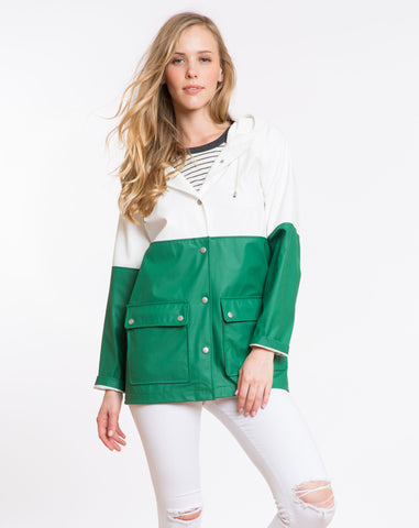 Classic Colorblock Raincoat - Green and White