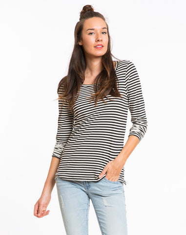 Annie Striped Longsleeve Crew - Black and White Stripe