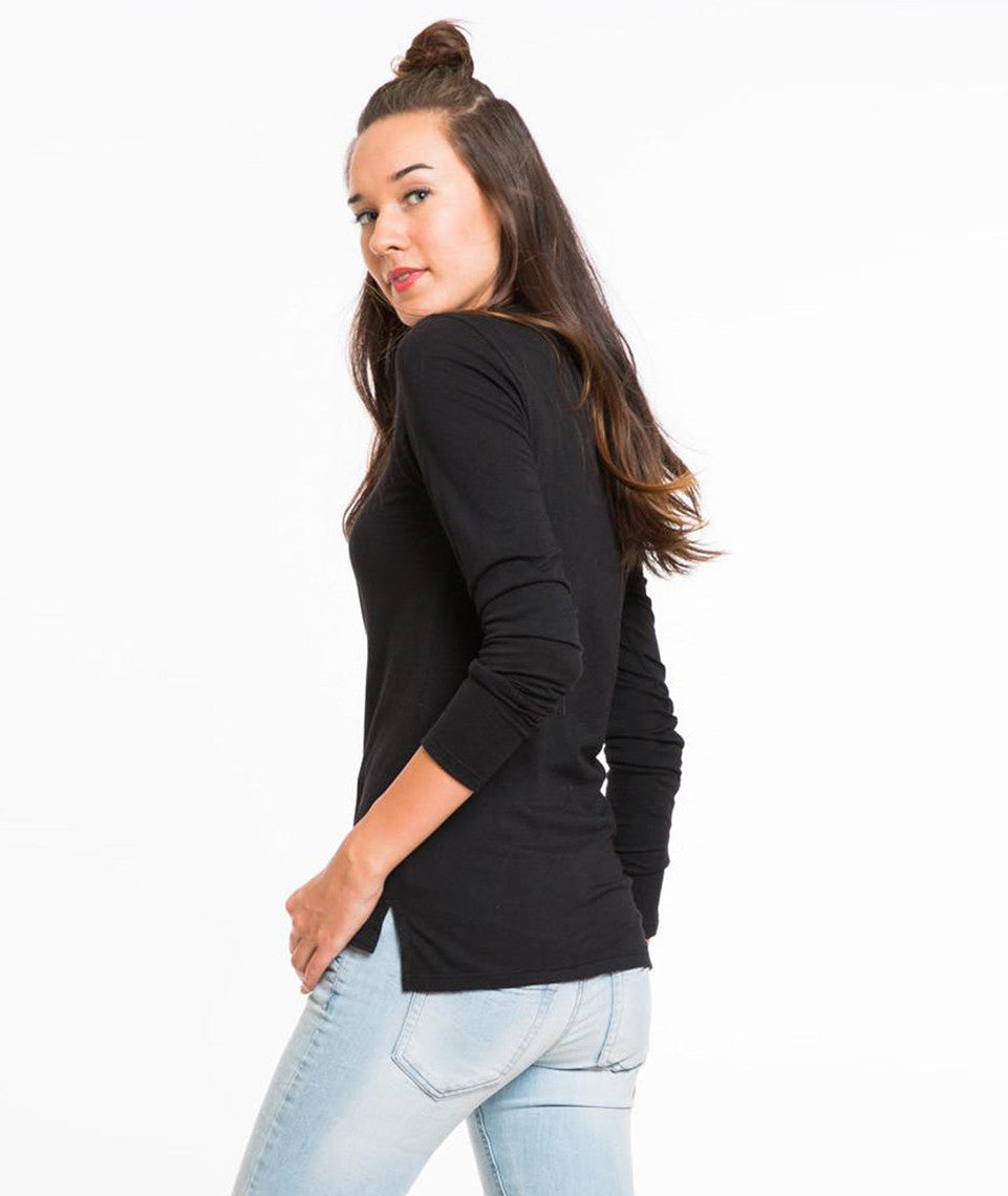 Longsleeve Slub Hi-Low Crewneck - Black