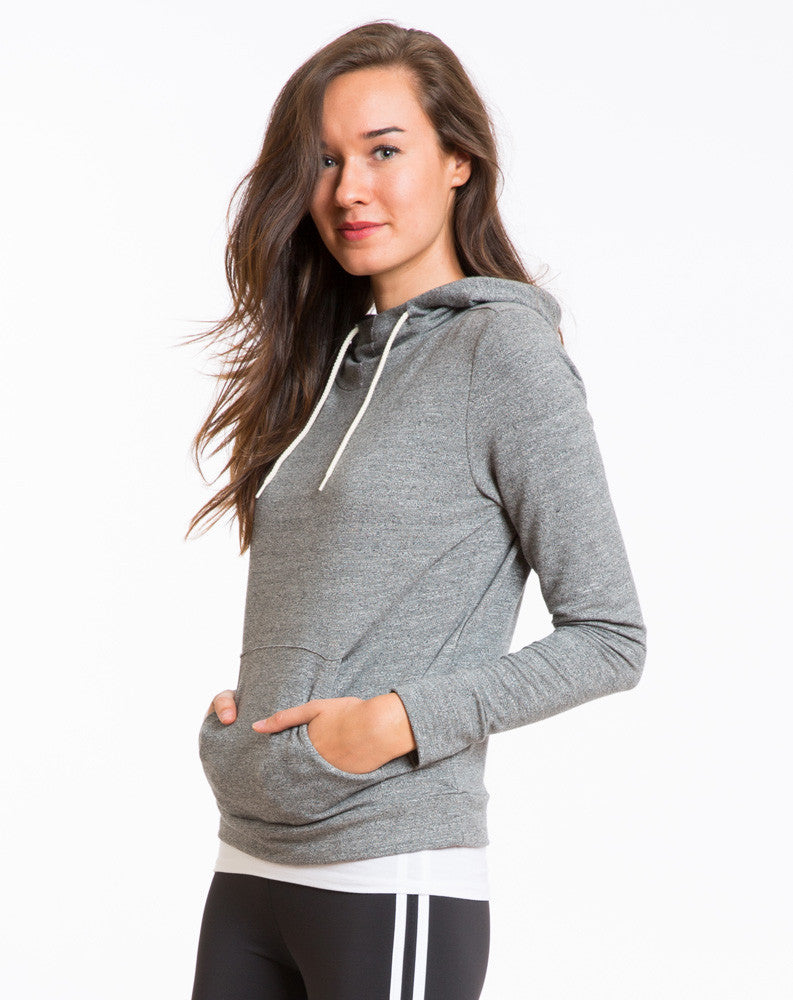 Mock Twist Cowl Neck Hoodie - Heather Grey