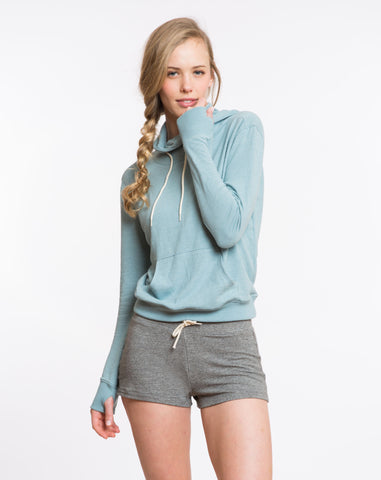 Double Knit Cowlneck Hoodie - Stone Blue