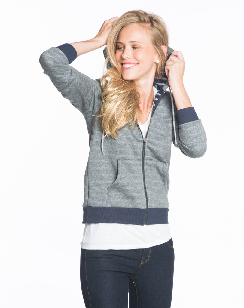 Lined Boyfriend Hoodie - Heather Grey with Stripes