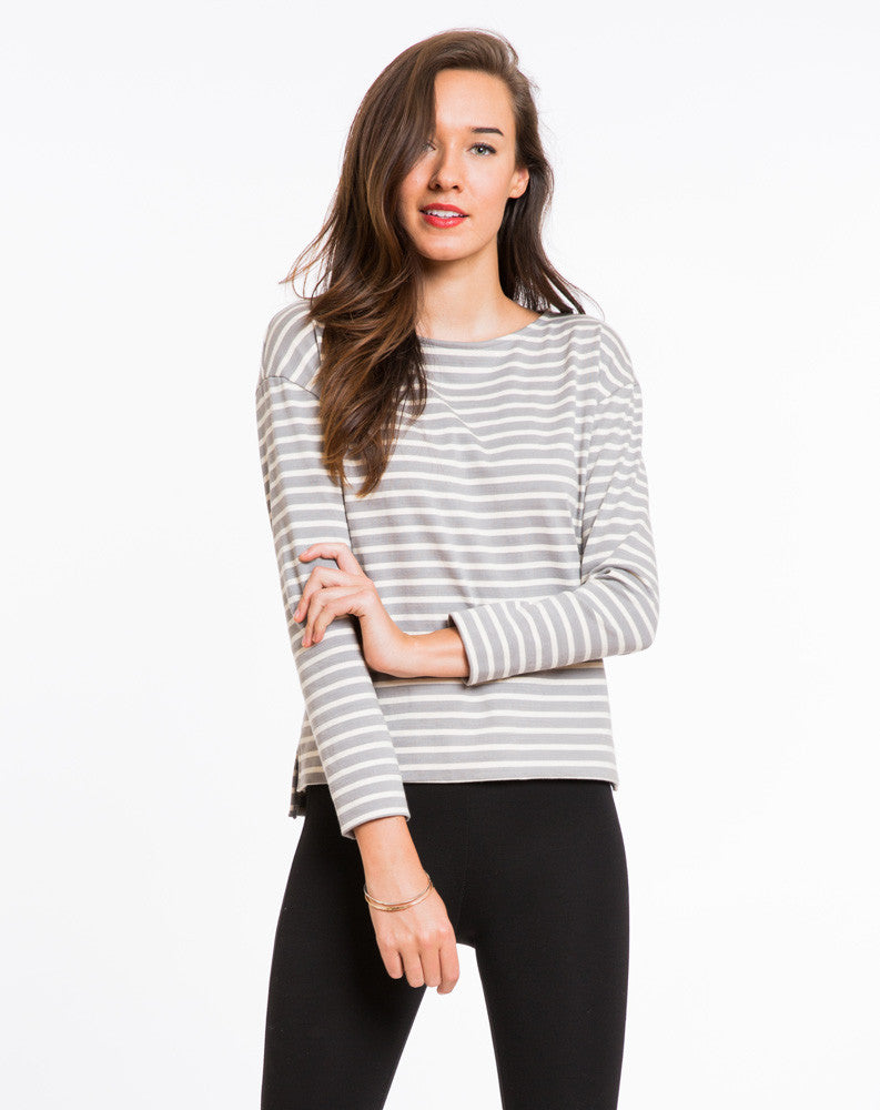 Breton Striped Shirt - Grey and White Stripe