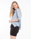 Callie Woven Buttondown - Blue Stripe