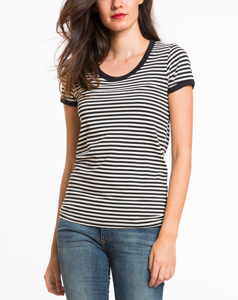 Annie Striped Ringer Tee - Black and White Stripe