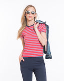 Brie Striped Crewneck - Red and Blue Stripe