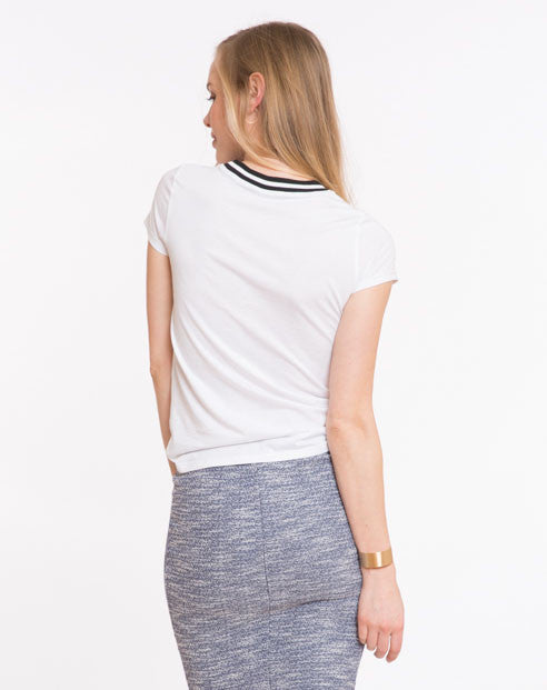 Riley Varsity Stripe Tee - White