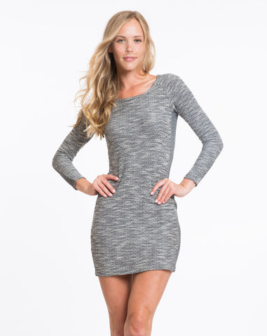 Tweed Panel Dress - Charcoal