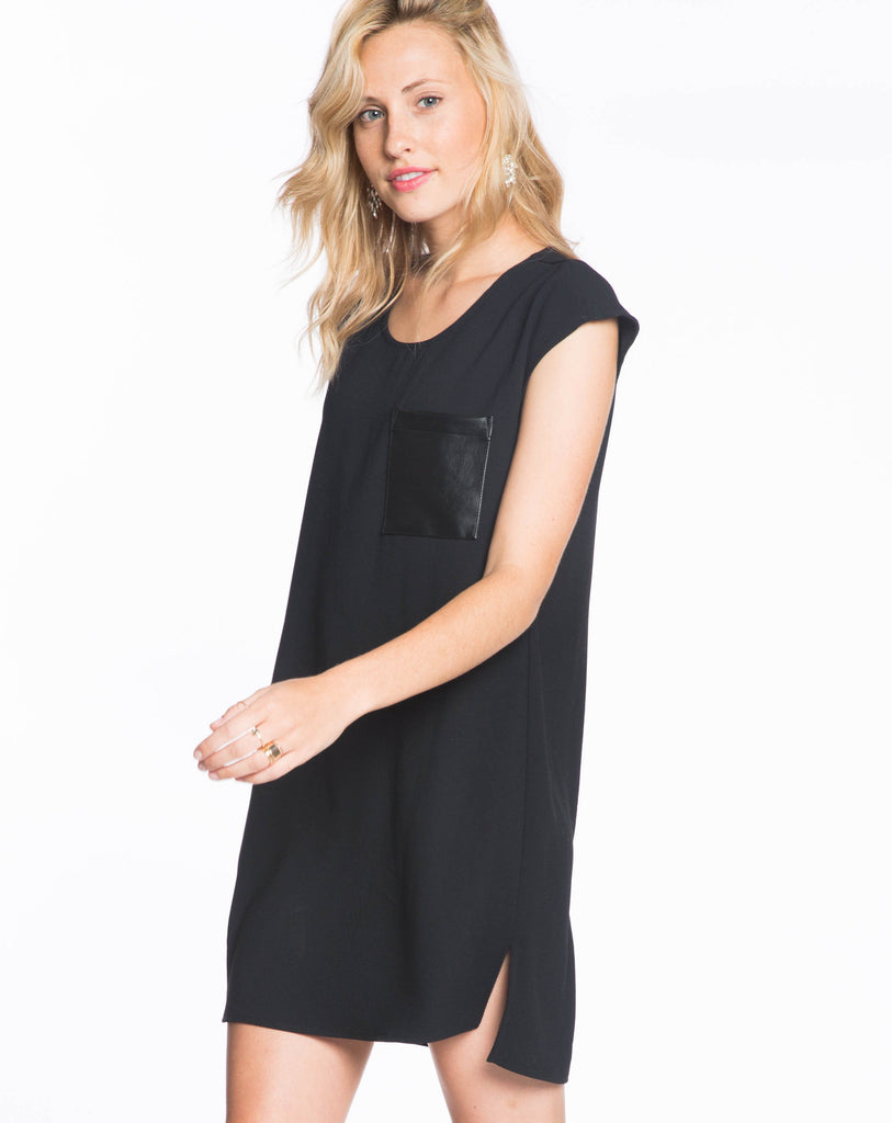 Crepe Shift Dress - Black