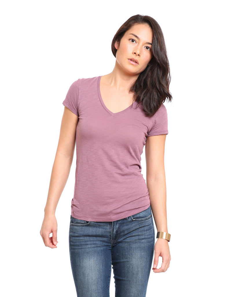 Slub V-Neck - Grape Shake