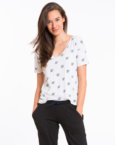 Slub V-neck - Blue Eye Print