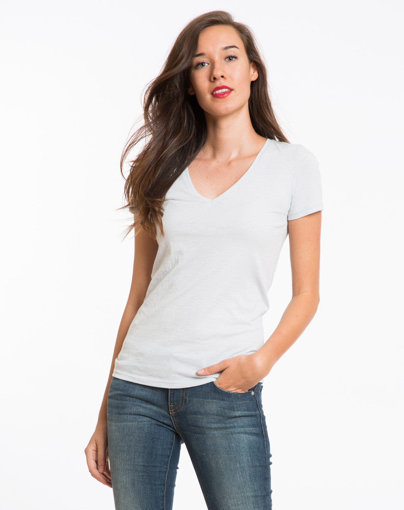 Slub V-neck - Grey Dawn