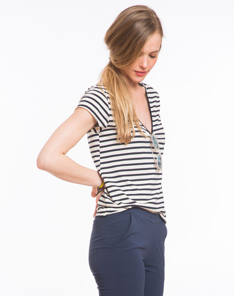 Darby Striped Painters V-Neck